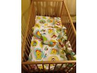 Cot mattress quilt and pillow