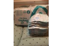 Jumbo pack plus more of size 3 pampers nappies
