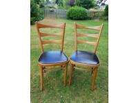 Pair of vintage teak Bentwood dining chairs