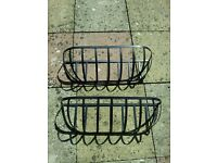 "Black pair garden patio 2 wall hanging baskets brackets 24"" trough large metal outdoor"