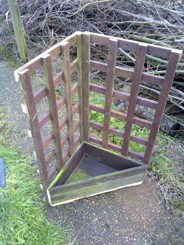 Corner Wood Planter With Attached Trellis In Lowestoft Suffolk