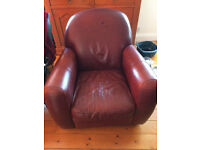2 x 2 Seater Leather Sofa's and 1 Chair for sale - Maroon/Burgandy ONO