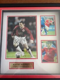 Authentic autographed framed photos of Wayne Rooney