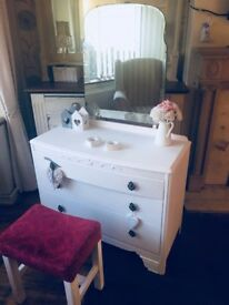 Shabby chic dressing table with mirror and stool
