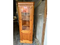 SOLID PINE WOODEN CORNER UNIT WITH LIGTHING NICE SMART WITH SHELVES & DRAWER STORAGE