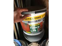 Ronseal one coat fence paint medium oak 12 litre tubs.