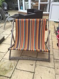 Old double seaside deckchair