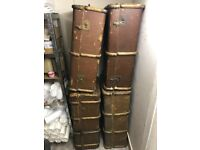 4 Antique Style Travel Chests / Suitcases
