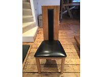 Set of 6 solid oak and leather dining room chairs £450