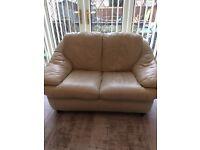 FREE!! 3&2 Seater cream leather sofa