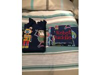 Boys single bed set with matching curtains