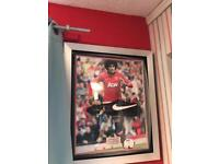Mariane Fellini. Hand signed framed Manchester United boot