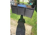 6 Seater black rattan table