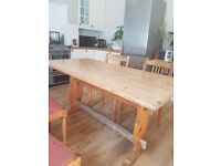 Solid pine wood farmhouse country kitchen dining table