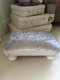 Crushed velvet foot stool farrow & ball feet Stuart Jones
