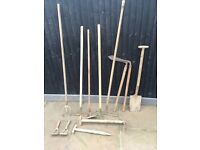 Selection of vintage garden tools