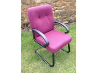 Office Reception hall chairs x 4 **YES FOUR* Burgundy Bent metal frames - Commercial grade used