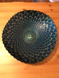 Decorative blue peacock bowl