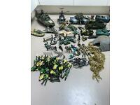 Toy Army vehicles and men etc