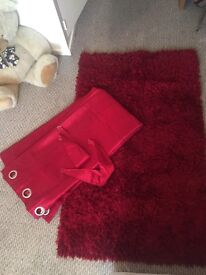 Red bedroom set - RED fluffy rug and set of curtains