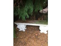 Great vintage stone bench on two carved supports