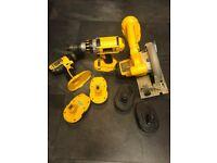 2 18V Dewalt Drills + Circular Saw + Chargers + Batteries