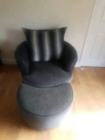 3 seater sofa & 1 seater chair with foot stool