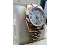 New Ladies Rolex Datejust with white engraved face with all gold presidential bracelet / bezel
