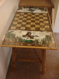 Unusual Vintage Retro Cane and Feather Chess Board Coffee Table