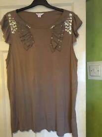 Plus size brown jewelled top