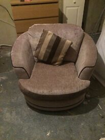 L Shape 3 Seater & Swivel Love Chair With Footstool