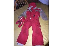 QUECHUA (Decathlon) child's all in one ski suit. Age 4. Matching gloves. And Apres Ski Boots