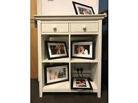 White display unit with drawers