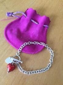 Murano Glass Heart Bracelet (Ruby)