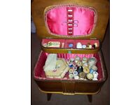 Vintage sewing box and contents.