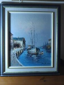 ORIGINAL OIL PAINTING Nautical Theme Water Ocean Boats Ships Port Seaside Waterscape Retro midcentury framed