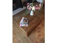 Handmade Rustic Coffee Table with shelf