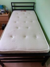 Single bed and memory foam topped mattress