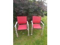 2 Brand New Patio chairs black frame with red textiline fabric