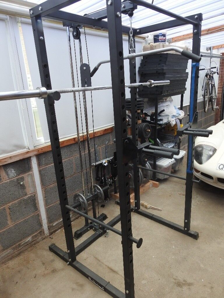 Reduced Power Squat Rack Cage With Pulley System Like