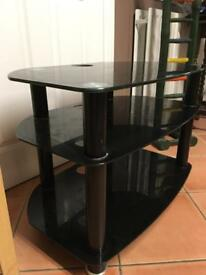 Smoked black glass tv unit