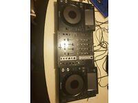 Pioneer XDJ100 mk1 x2 DJM 750 mixer SDJ50x speaker