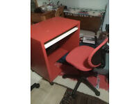 Red and White Desk and Chair on wheels