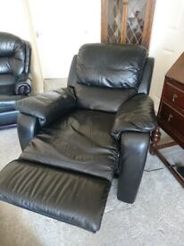 Black Leather Electric Recliner Armchair
