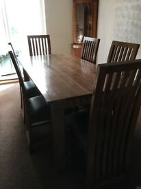 Solid dining table and chairs