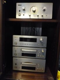 TEAC sound system (amplifier/CD/radio/tape), speakers, wall brackets, cabinet - all as new