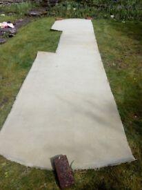 100% wool carpet strip, pale green, used.