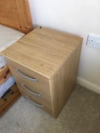 Oak effect bedside table