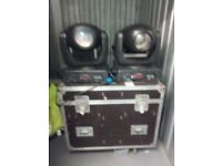 For sale is two 750w beam moving heads, 16amp in a mac 600 flightcase.