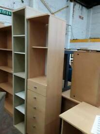 Tall Standing Narrow Shelving And Drawer Units. As pictured